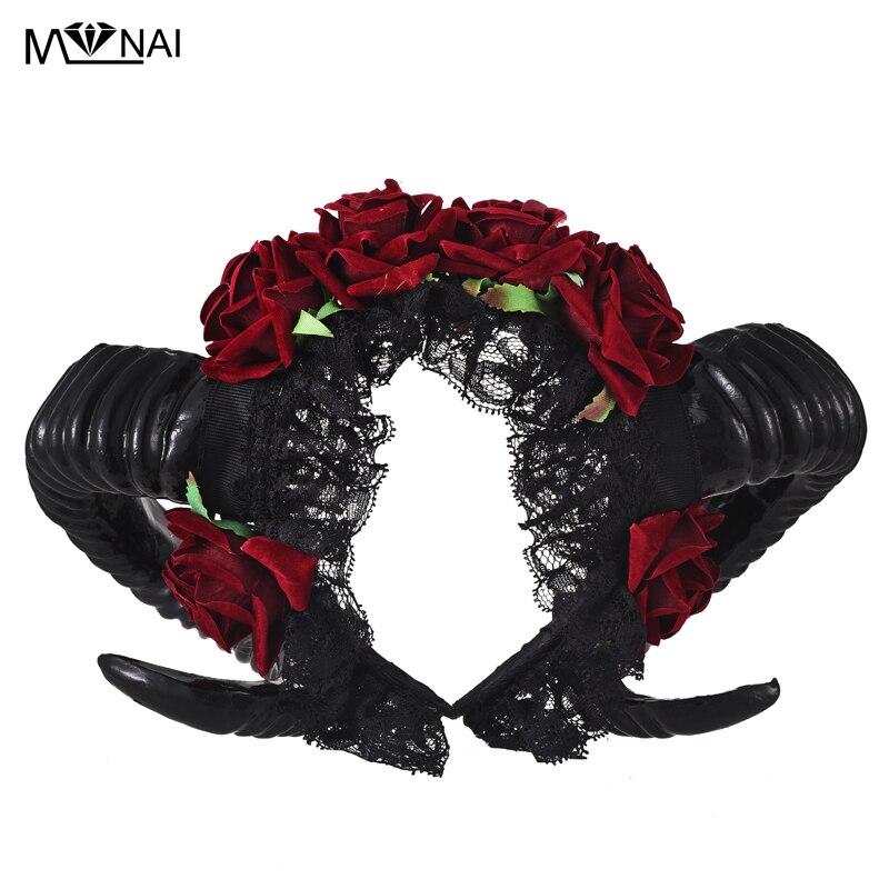 Купить стимпанк рестайл овечий рог цветочный ободок с розами готическая