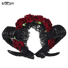 Steampunk Restyle Sheep Cuerno Rose Diadema de flores Gothic Beauty Horror Horns Halloween Velo negro Lace Retro Hair Accessories