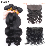 Объемная волна Связки с фронтальной бразильские плетение волос 13x4 кружева Фронтальная застежка натуральных волос CARA