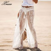 Beach Style Women Lace Bell Bottoms Flare Trousers Mid Waist Wide Leg Long Pants Lace Hollow Out See Through Lace-up Pants New цена