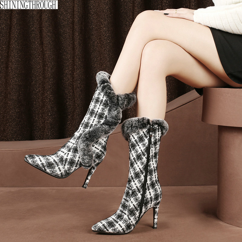 Women snow Boots High Heels Shoes Woman polka dot Pointed Toe Sexy dress Boots For Females Plus Size 34 43
