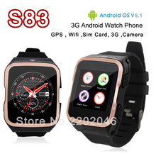 ZGPAX S83 3G Bluetooth Smart Uhr Android SIM telefon Wifi Quad Core Smartwatch 3.0MP HD Kamera GPS für Android iOS armbanduhren
