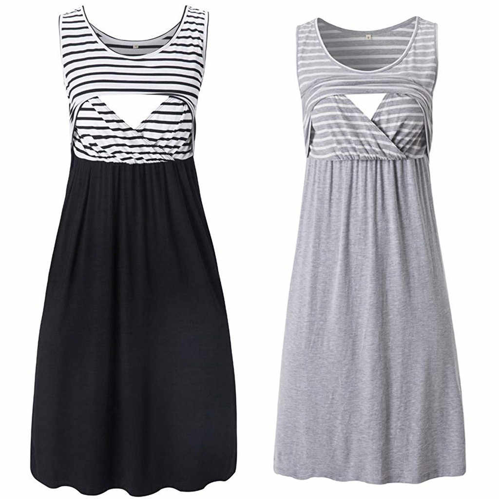 Maternity Dresses Women Summer Casual Sleeveless Pregnant Maternity Stripe Tunic Breastfeeding Dress Pregnancy Clothes#520