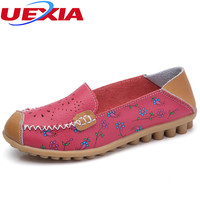 New Women Leather Shoes Moccasins Mother Loafers Soft Leisure Flats Female Driving Casual Footwear Slip On