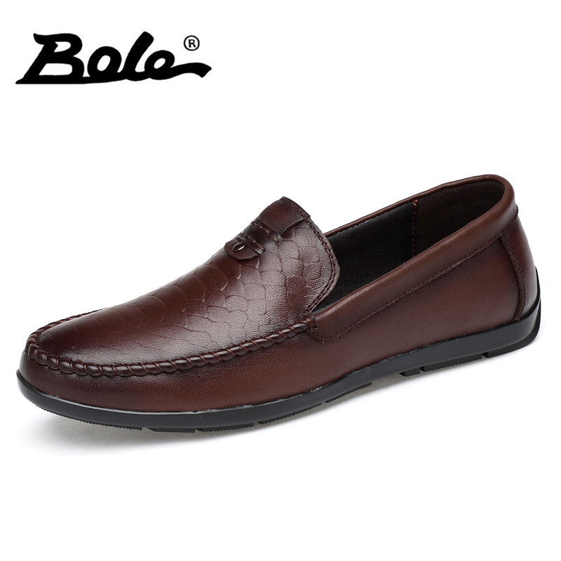 BOLE New Designer Handmade Moccasins Men Loafers Fashion Slip on Genuine Leather Men Shoes Comfort Flat Shoes Men Big Size 36-47 bole new handmade genuine leather men shoes designer slip on fashion men driving loafers men flats casual shoes large size 37 47