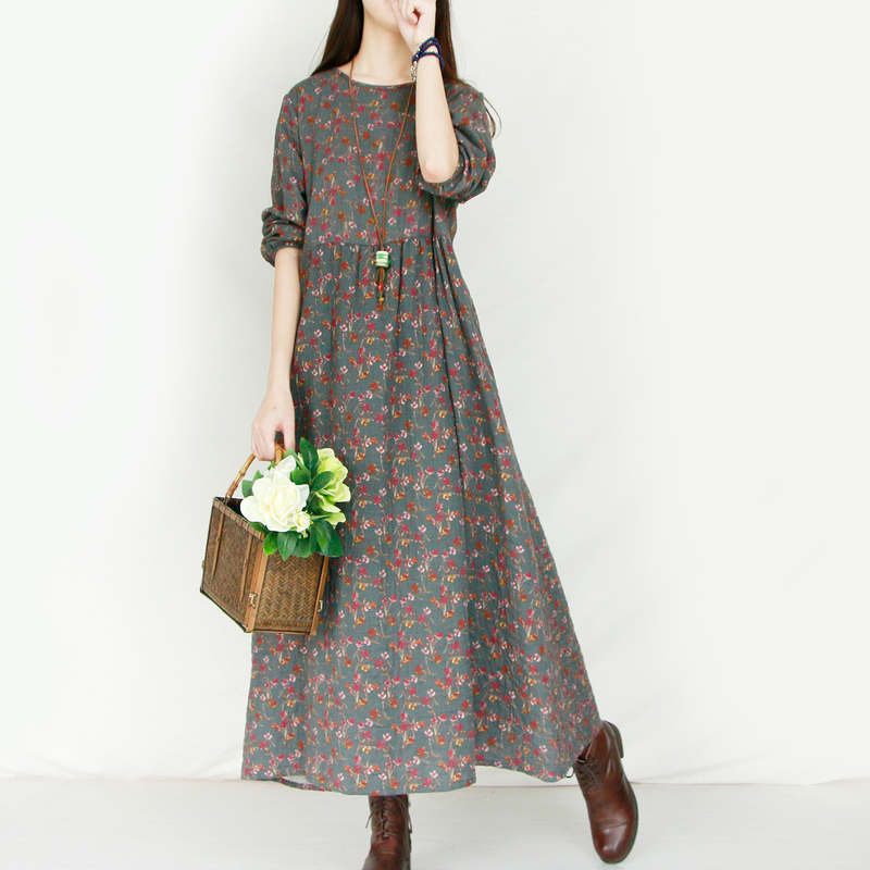 ab85646ba2 Detail Feedback Questions about Mori Girl Vintage Long Sleeved Cotton Dress  Robe Autumn Floral Print Long Maxi Women Casual Clothing Female Dresse  Vestido ...