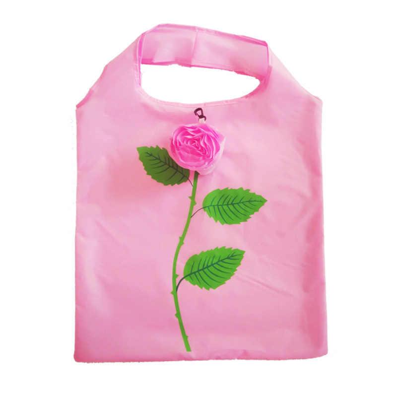 Saco de compras feminino rosa para mulher com dobrável reutilizável dobrável personnalis tote tote pano alça de papel sacos de tecido grande algodão