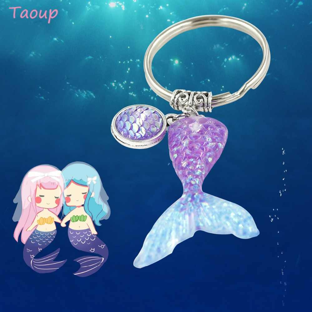 Taoup 1pc Gradient Color Sequins Little Mermaid Tail Keychain Happy Birthday Party Decor for Girls Kids Mermaid Theme Ornaments