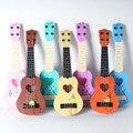 4 string toys simulação das crianças mini-forma de coração ukulele guitarra play bebê na primeira infância educacional instrumento musical