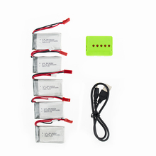 5Pcs 3.7V 1200mAh 903052 Quadcopter Drone Lipo RC Battery And 5 in 1 Charger SET Helicopter Aircraft For SYMA X5SW X5 M18 H5P