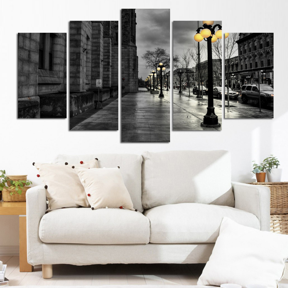 Modern Canvas pictures Retro ink paintings City Street Landscape ...