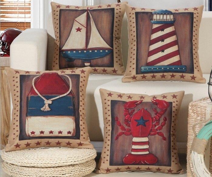 Bohemian Brown Boat Ship Lighthouse Shrimp Print Cushion cover Vintage Linen Cotton Throw Pillow Cover for Home car 45x45cm B102