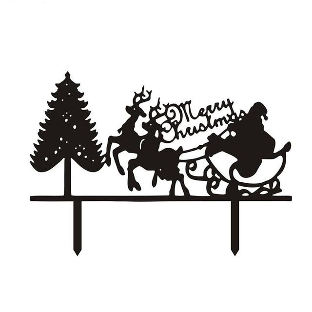 10pcslot santa claus merry christmas cake flags with christmas tree black white acrylic cake - Merry Christmas Black And White