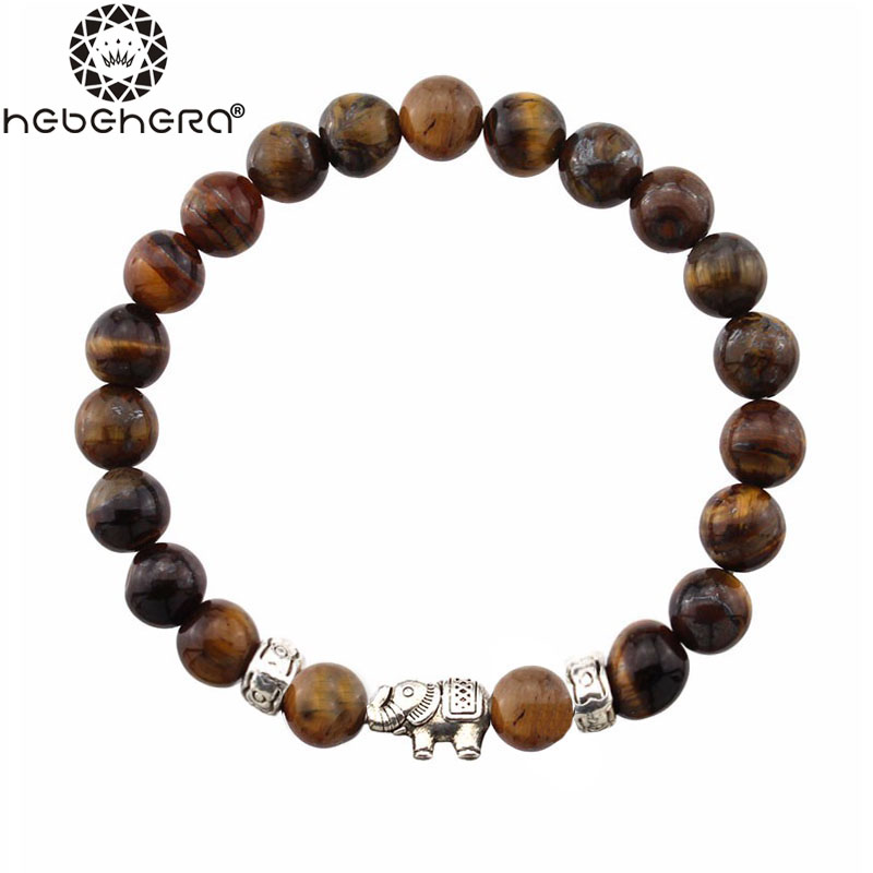 Natural Antique Lave Stone Beads Bracelet Black Brown Alloy s