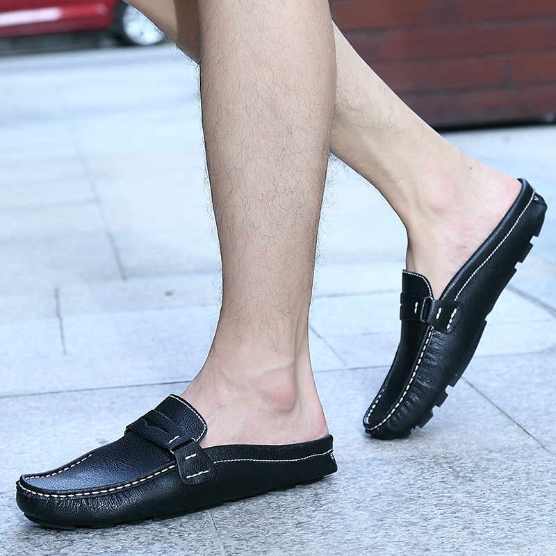 fcbda4a70c4794 ... Men S Sandals Backless Leather Slippers Shoes Pedal Doug Half Tide - Lazy  Summer Mens Driving Loafers