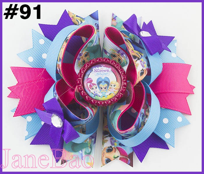 free shipping 50pcs 5 5 Princesses inspired Stacked Boutique Hair Bow Princess hair bow Cartoon Bows