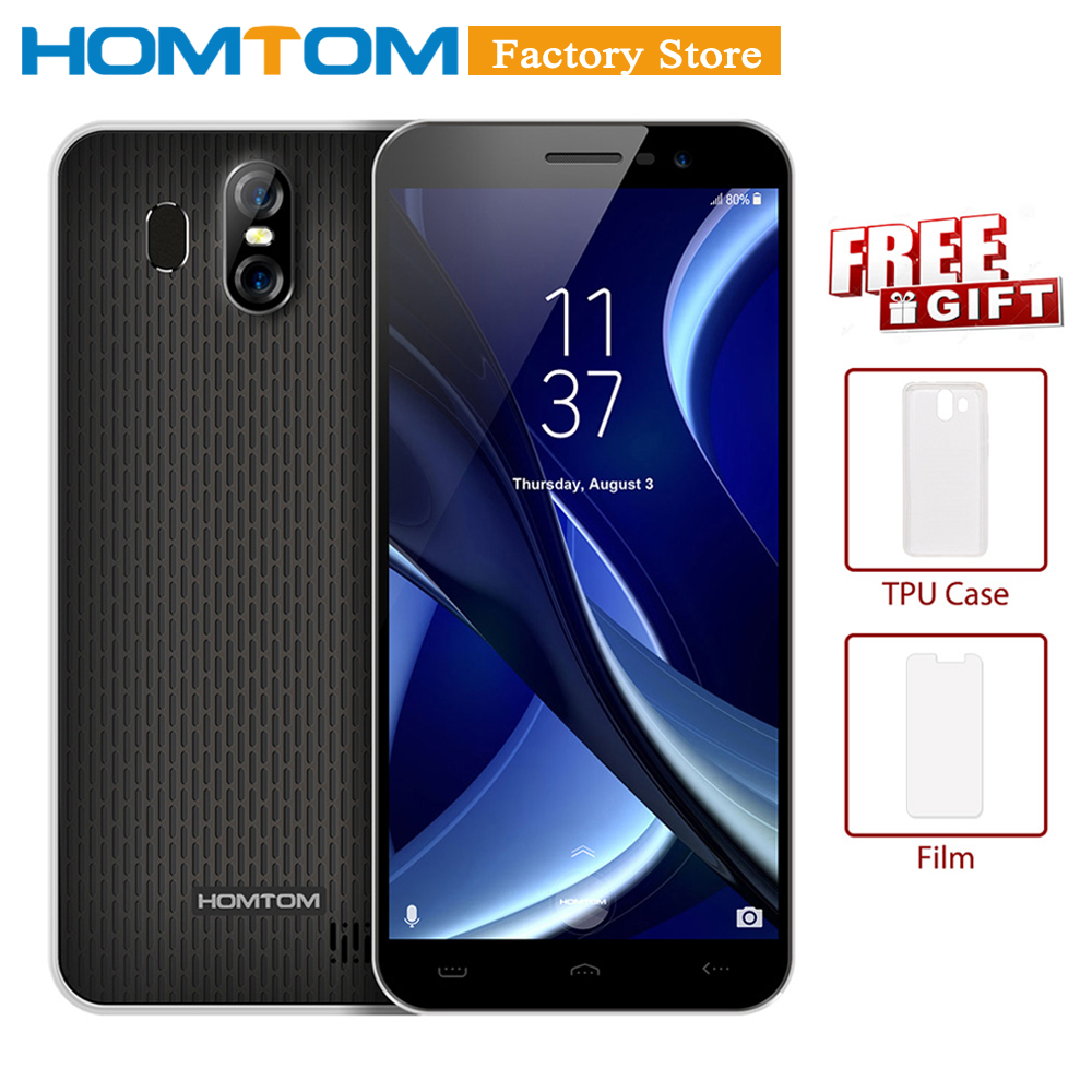 HOMTOM S16 Fingerprint Mobile Phone 5.5Inch 18:9 Screen 2GB RAM 16GB ROM 13MP+8MP Cams MTK6580 Quad-Core 3000mAh Smartphone