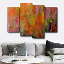 Laeacco Abstract 4 Panel Watercolor Wall Art Graffiti Posters and Prints Living Room Nordic Home Decor Vintage Canvas Painting