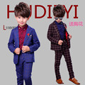 2016 New EU Style Grid Child Blazers Suits High Quality Boys Clothing sets For Party And Wedding Baby Costumes Age:2-10T