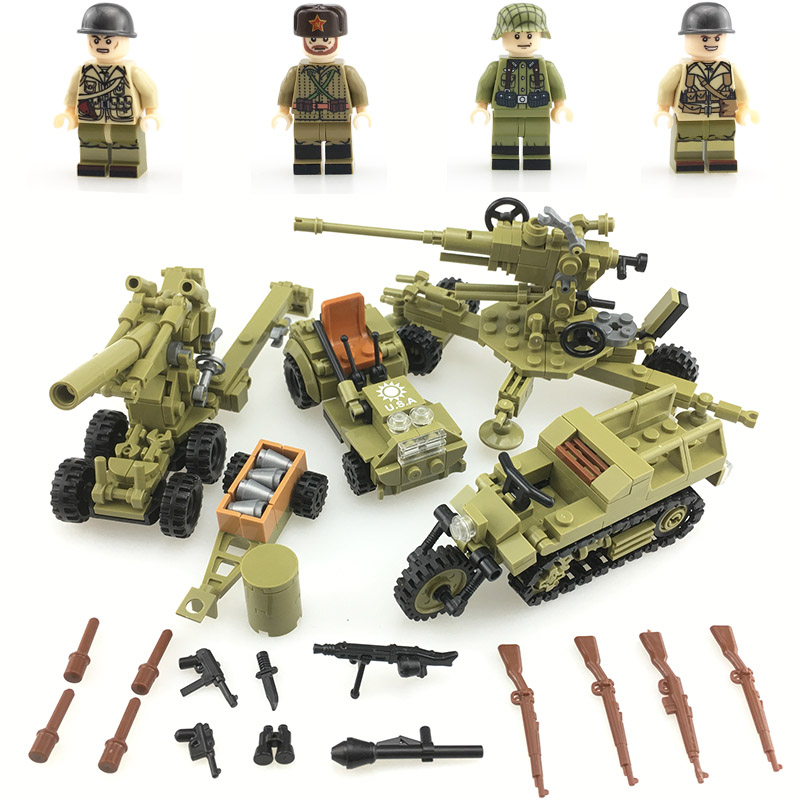 WW2 Soviet Army Soldiers Building Blocks Weapons Antiaircraft Gun Tracked Motorcycle Accessory Building Blocks Bricks Toys