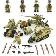 WW2 Soviet Army Soldiers Building Blocks weapons antiaircraft gun Tracked motorcycle accessory building blocks Bricks Toys недорого