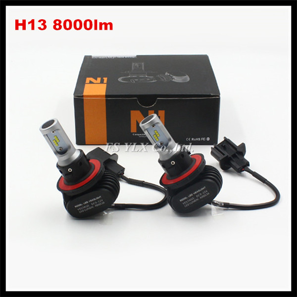H13 hi/lo LED headlight Conversion kit Motorcycle Car auto H13 LED headlight bulb headlamp H13 LED headlight lamp 50W 8000LM