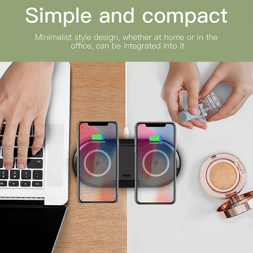 Dual Wireless Fast Charging Double Station for iPhone and Android
