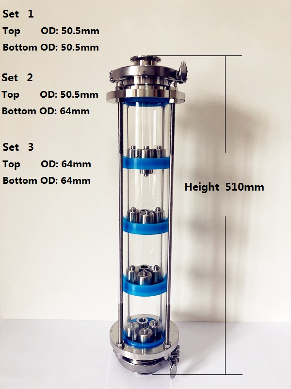 "Free Shipping 3"" Distillation Lens Column With 4pcs  Stainless Steel 304 Platte Sets,Tri-Clamp Sight Glass Union SS304"