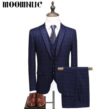 New Groomsman dress Three piece set Plaid Business Casual Suits Trousers Vest Classic Men MOOWNUC Fashion Four colors Slim Fit