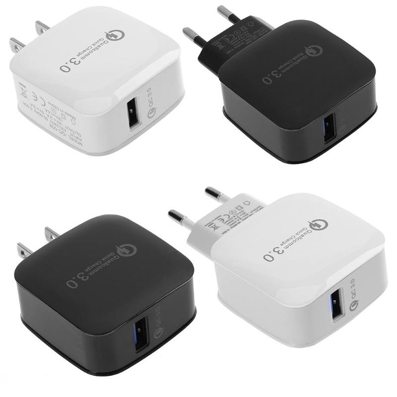 Alloet 1pcs US/EU Plug Universal QC 3.0 Single USB Wall Travel Charger Adapter White/Black For Phone Tablet