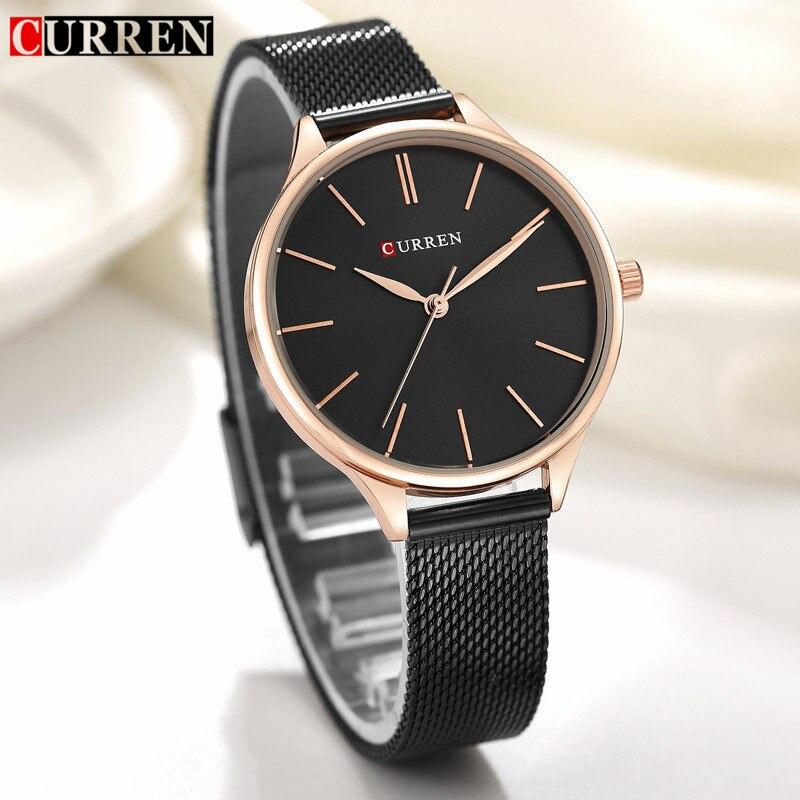 2018 Women's Fashion Casual Dress Quartz Watch Curren Brand Luxury Gold Mesh Strap Bracelet Women Wristwatch Ladies Clock Reloj