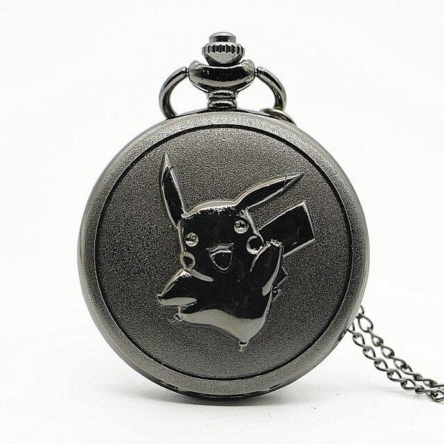 Big Size Pikachu Black Quartz Pocket Watch Mens Womens Necklace Pendant Analog W
