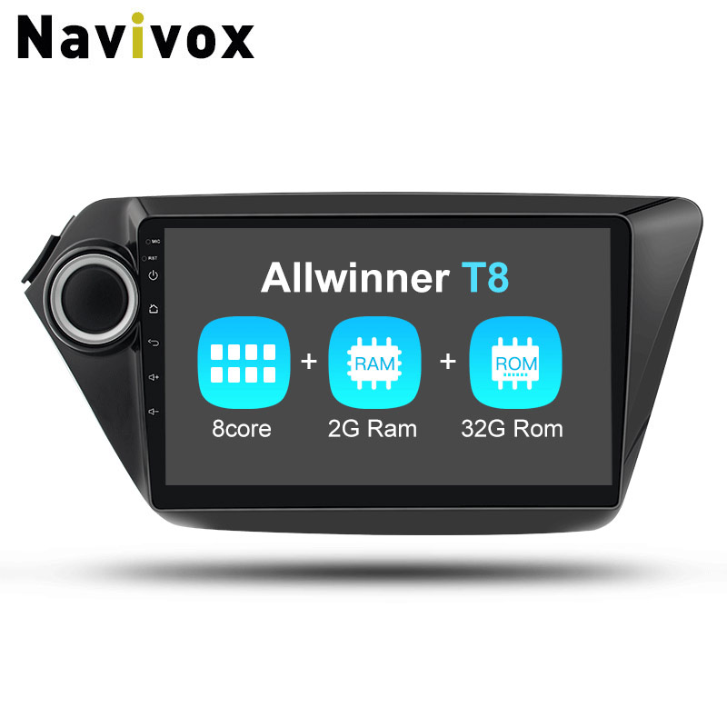 Navivox Octa Core 2din Android7.1 Ram 2G+32G Car Stereo Audio Navigation GPS Player For KIA K2 Rio 2010 2015 Wifi/BT/3G/4G/SWC