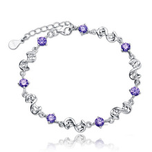 Romantic Silver Twisty Chain Kors Bracelets Charms Amethyst/Crystal Adjustable Bracelet For Women Accessories Pulseras Mujer