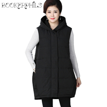 Autumn Winter Women Vest Jackets Hooded Plus Size Thick Cotton Casual Sleeveless Coats For Mom Loose Waistcoat Long