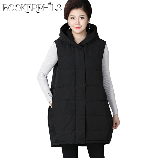 23ba59203c0 Autumn Winter Women Vest Jackets Hooded Plus Size Thick Cotton Casual  Sleeveless Coats For Mom Loose