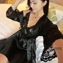 Женская атласная шелковая ночная рубашка, комплект из 2 предметов, халат и ночная рубашка, комплект одежды для сна, сексуальные пижамы для женщин, весна, лето, осень