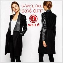 New Hot! 2014 Fashion Celebrity Style Women's Black Leather Spliced Slim Long Woollen Coats Winter Coat Women Overcoat Plus Size