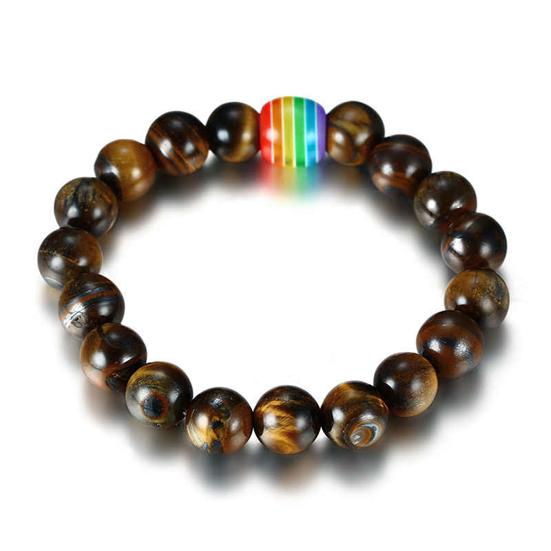 Vnox gay orgulho lésbica arco-íris natural olho de tigre pedra lava rock frisado arco-íris pulseiras para homem