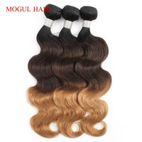 Mogul Hair Indian Body Wave Hair Weave Bundles Color 1B 4 27 Ombre Brown Honey Blonde Remy Human Hair Extension 12 24 Inch