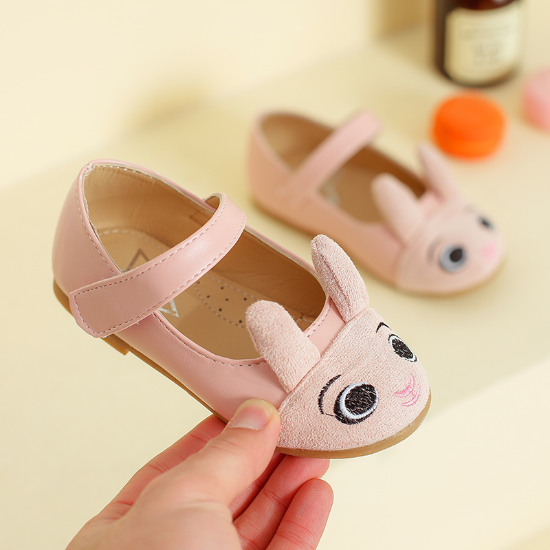 2018 New Spring Casual Pretty Girls Shoes Cute Rabbit PU Leather Shoes Anti-slip Soft Sole Kids Sneaker Girls Princess Shoes