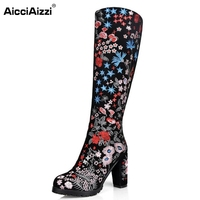 Women Boots Real Leather Knee Boots Ladies High Heel Embroidery Botas Mujer Winter Fashion Zipper Heeled