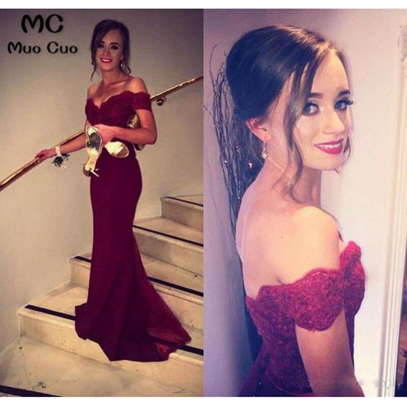 Burgundy 2018 Off Shoulder Mermaid Bridesmaid Dress Wedding Party Dress Elastic Satin Zipper Button Back Bridesmaid Dresses