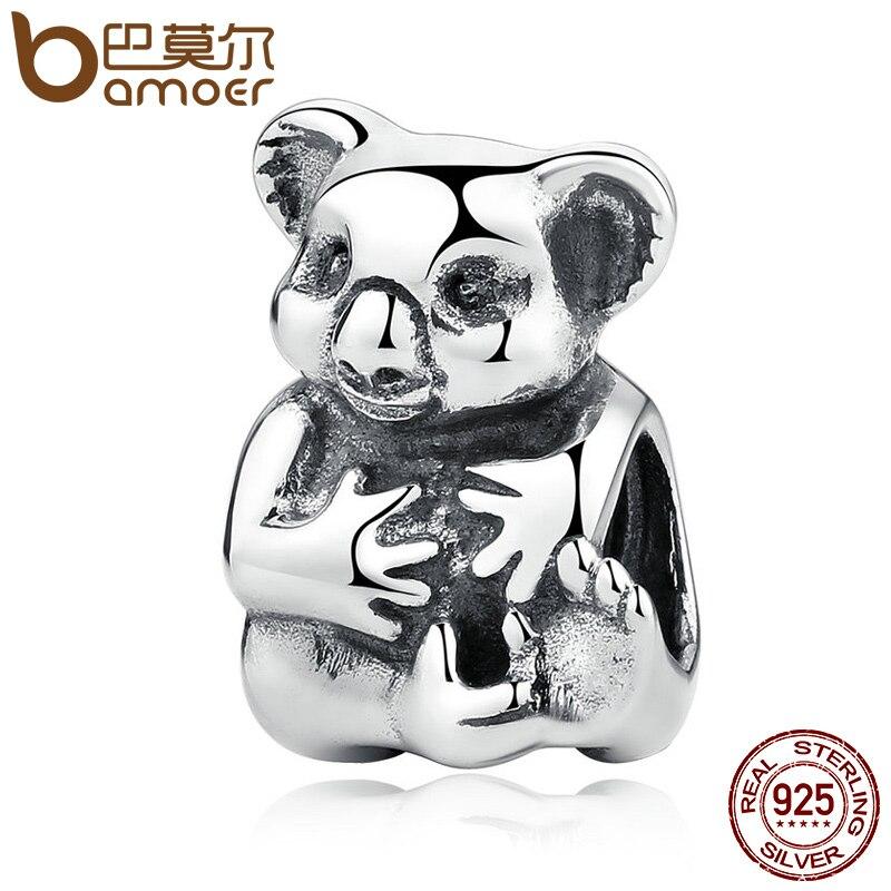 BAMOER Lovely Gift 925 Sterling Silver Koala Bear Animal Charms fit Bracelet Women Fashion Beads Jewelry