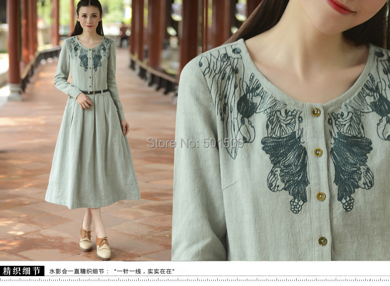 light green full sleeve cotton and linen long embroidery peterpan collar medieval dress  Victorian vintage dress