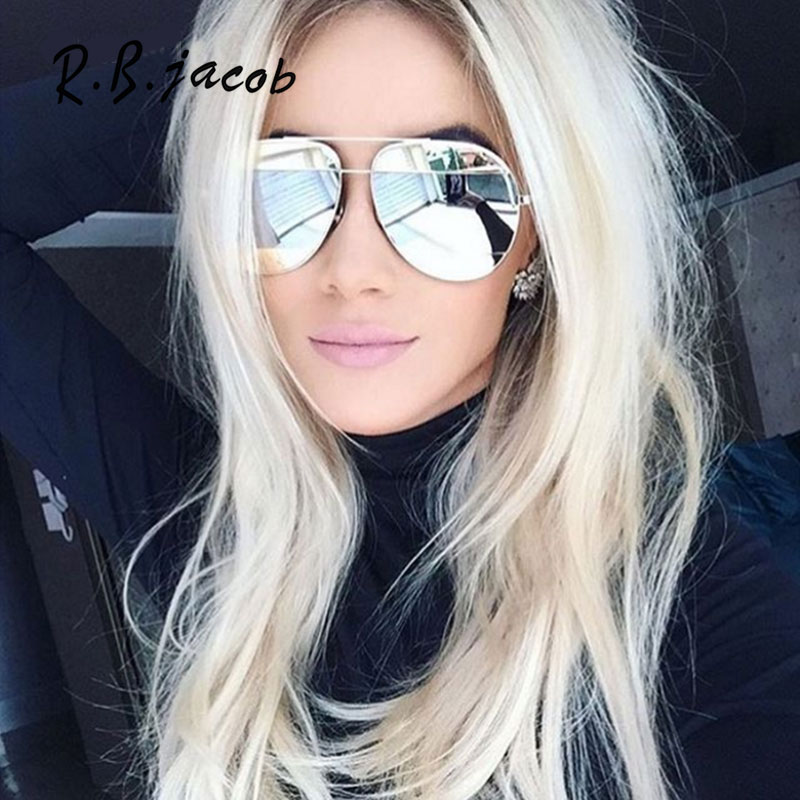 2017 New Sunglasses Women Shiny Metal Frame Mirror Aviation Luxury Brand Designer Shades Male Female Sun