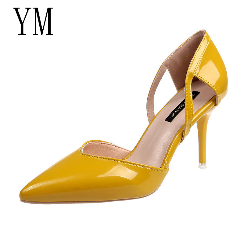 2019 Women Block High Heels Bridal Scarpin Pumps Ladies Pointed Toe Yellow Khaki Plaza Heels Female Shoes Zapatos Mujer Leisure