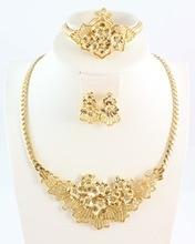 Бесплатная доставка модные высокое качество бижутерия Золото Цвет со стразами Цепочки и ожерелья серьги браслет кольцо Комплекты ювелирных украшений для женщин