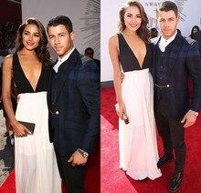 Inspiriert durch Olivia Culpo Black & White Celebrity Kleider Eine Linie Chiffon Sexy Tiefem V-ausschnitt Abendkleid Formale Kleider Vestidos