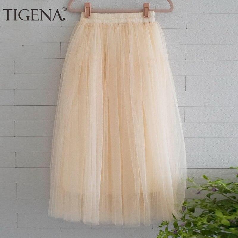 TIGENA Long Tulle Skirts Women 2018 Summer Pleated Maxi Skirt Sun Female Elastic High Waist Casual Skirt Black Gray Green Blue